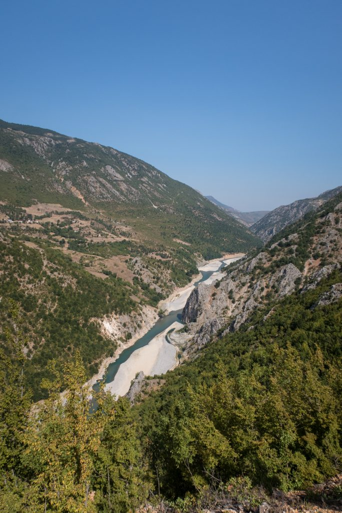 The Drin river valley in Albania