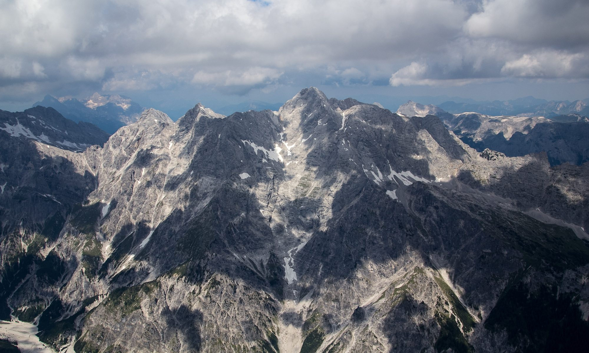 Dramatic sky seen from the Watzmann ridge in the Bavarian Alps