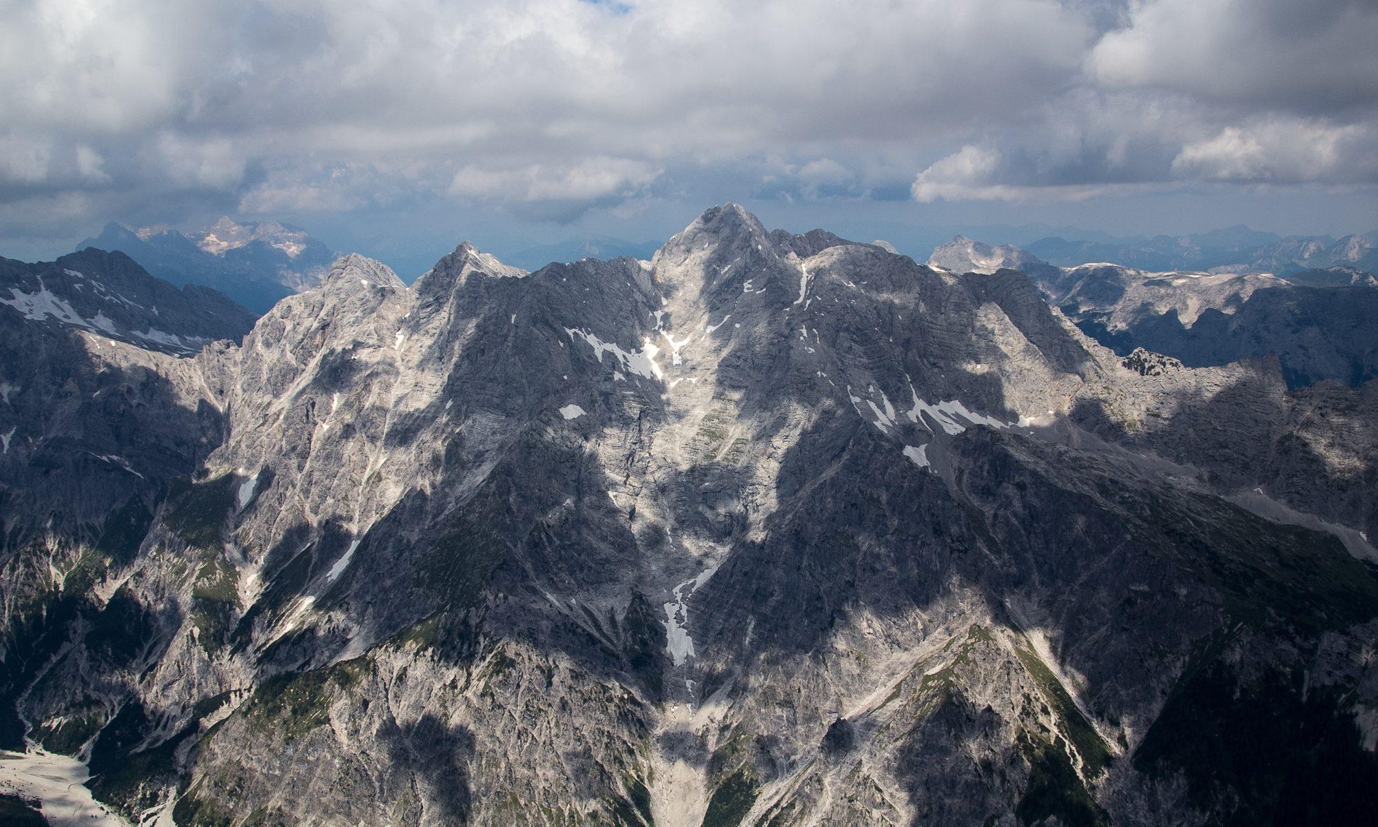 Dramatic sky seen from the Watzmann ridge in the Bavarian Alps